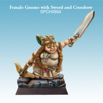 Female Gnome with Sword and Crossbow