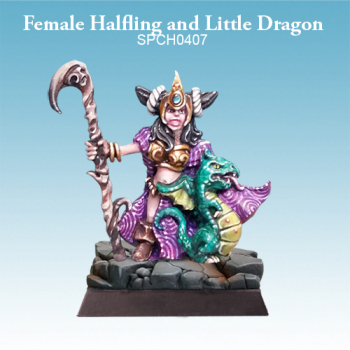 Female Halfling and Little Dragon